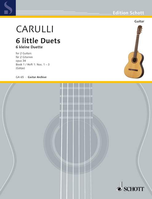 Rechtdoorzee 6 Little Duets Op. 34 Vol. 1 No. 1-3 Carulli, Ferdinando Performance Score 2 Gu
